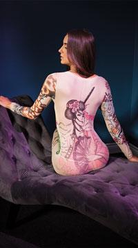 Tattooed Rebel Bodystocking - Nude