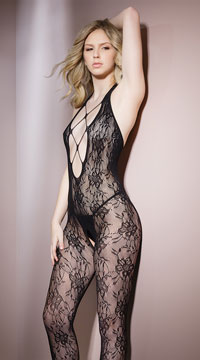 Plunging Lace Bodystocking - Black