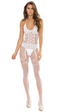 Sultry Secrets Bodystocking - White
