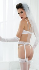 Lace Cupless Shelf Bra, Garterbelt and Thong - White
