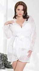 Plus Size Romantic Lace Robe - White