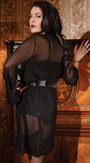 Plus Size Mesh Robe with Satin Trim - Black