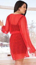 Plus Size Mesh Robe with Satin Trim - Red