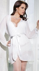 Plus Size Mesh Robe with Satin Trim - White