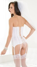 Zip Front Sweetheart Corset - White