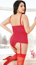 Plus Size Stretch Bustier with Satin Bows - Red
