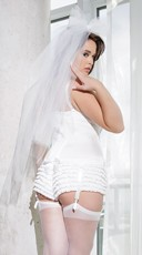 Plus Size Stretch Bustier with Satin Bows - White
