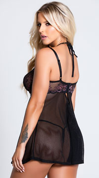 Pretentious Purple Babydoll Set - Black/Lilac