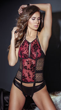 Red Roses Bustier - Merlot/Black