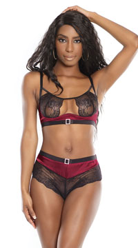 Buckle Up Bra Set - Merlot/Black