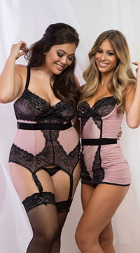 Plus Size Blush and Lace Bustier - Blush