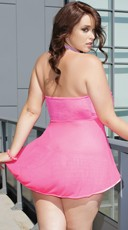 Plus Size Tickled Ruffle Babydoll - Neon Pink