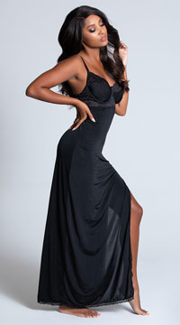 Totally Tempting Lingerie Gown - Black