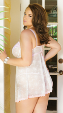 Plus Size Girly Confessions Babydoll and G-String - White/Pink