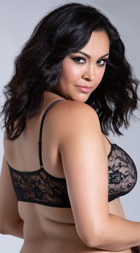 Plus Size Stretch Lace Bralette - Black