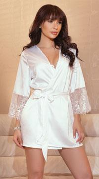 Elegant Bridal Robe - White