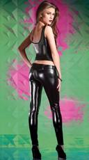 Black Wet Look Pants - Black