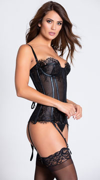 PVC and Lace Bustier - Black