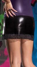 Wet Look Mini Skirt - Black