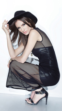 Fishnet and Wet Look Gown - as shown