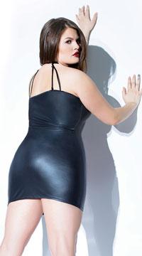 Plus Size Matte Shadows Dress - Black