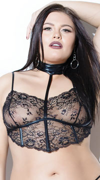Plus Size Luscious Lace Bra Top - Black