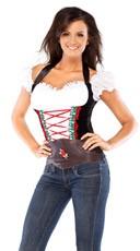 Beer Girl Costume Bustier - Black/White