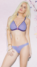 Sheer Purple and Pink Bralette Set - as shown