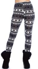 Black and Navy Nordic Pattern Leggings - Black/Blue