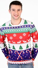 Plus Size Faux Printed Ugly Christmas Sweater Shirt