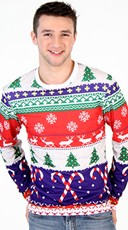 Faux Printed Ugly Christmas Sweater Shirt