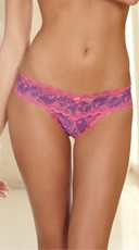 Crotchless Lace V-Thong - Fuchsia/Purple