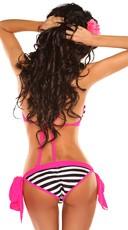 Sexy In Stripes Bikini - Black/White/Fuchsia