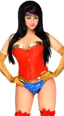 Plus Size Sexy Powerful Woman Corset Costume - Red/Blue