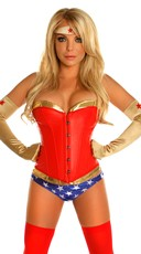 Powerful Woman Corset Costume - Red/Blue