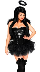 Plus Size Sexy Sequin Naughty Angel Costume - Black