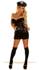Night Shift Officer Corset Costume - Black