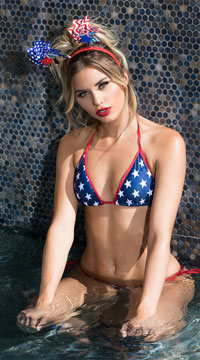 Firecracker Scrunch Back Bikini - Red/White/Blue