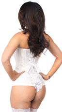 Plus Size Lavish White Brocade Corset - White