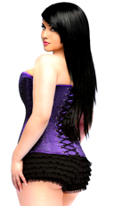 Plus Size Lavish Purple Glitter Corset - Purple