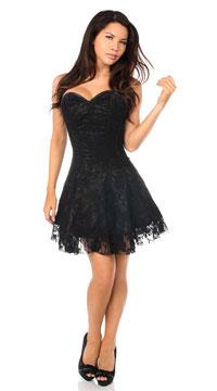 Corset Black Lace Cocktail Dress - Black