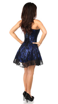 Darling Blue Lace Corset Dress - Blue