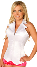 Plus Size White Collared Corset - White