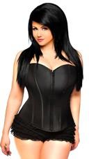 Plus Size Black Sweetheart Zip Front Corset - Black