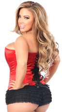 Plus Size Red Sweetheart Zip Front Corset - Red