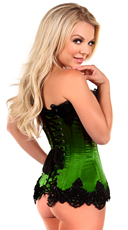 Plus Size Emerald Green Steel Boned and Beaded Corset - Emerald