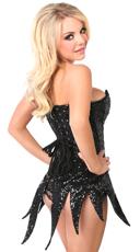Black Sequin Corset Dress - Black