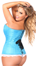 Blue Steel Boned Corset - Blue