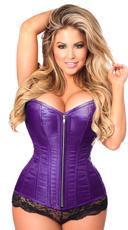 Plus Size Purple Steel Boned Corset - Purple