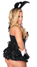 Black Sequin Bunny Corset Costume - Black
